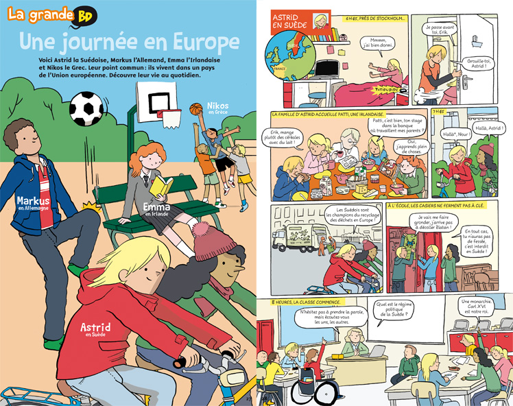 Une journée en Europe - BD - Images Doc - Mai 2014 - © Illustrations : M. de Radiguès.