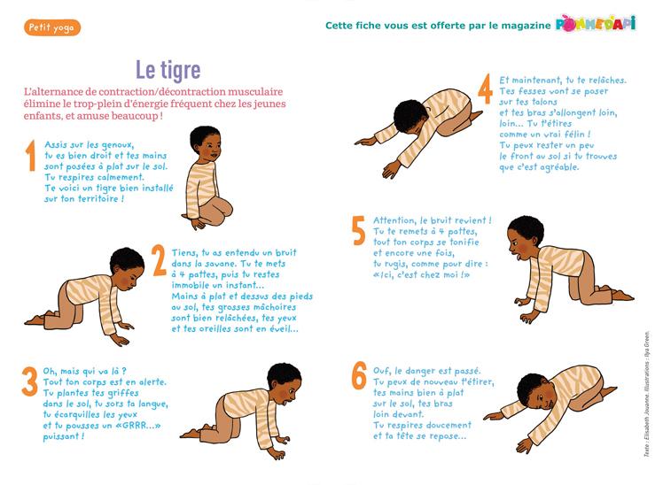 """""""Le petit yoga"""", supplément pour les parents du numéro de novembre 2014 de Pomme d'Api - Texte : Elisabeth Jouanne. Illustrations : Ilya Green."""