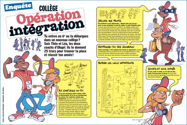 """Enquête """"Collège : opération intégration"""", Okapi du 15 septembre 2015 - Textes : Lucie de la Héronnière - Illustrations : Éric Buche"""
