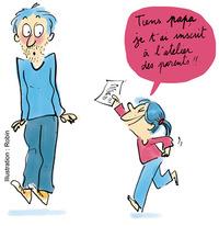 """Supplément au n°597 de Pomme d'Api, novembre 2015. """"Etre parents ça s'apprend !"""" Texte : Anne Bideault. Illustrations : Robin."""