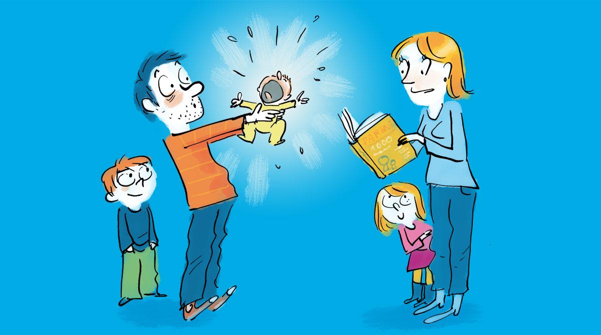 """Supplément au n°597 de Pomme d'Api, novembre 2015. """"Etre parents ça s'apprend !"""" Illustrations : Robin."""