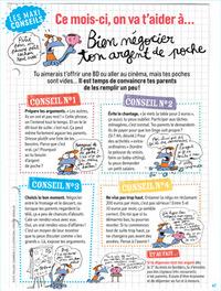 """Rubrique """"Les maxi conseils - Ce mois-ci, on va t'aider à négocier ton argent de poche"""", J'aime lire Max, octobre 2015 - Texte : Pauline Chamming's. Illustrations : Frédéric Benaglia"""