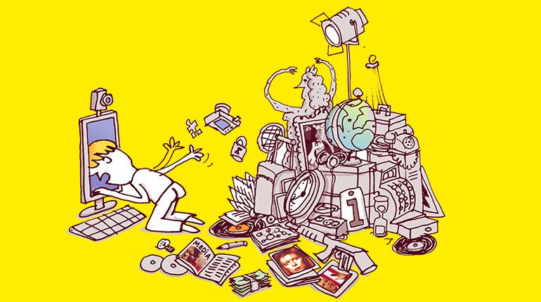 Semaine de la presse et des médias dans l'école - Illustration : Marino Degano, Phosphore n°417