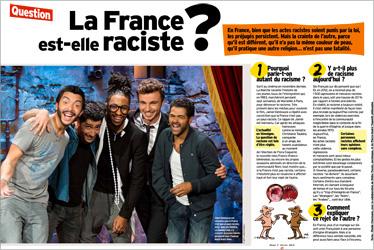 """""""La France est-elle raciste ?"""" Les préjugés, la crainte de l'autre… Pourquoi parle-t-on autant de racisme en France ? Une question traitée par le magazine Okapi (février 2014)"""