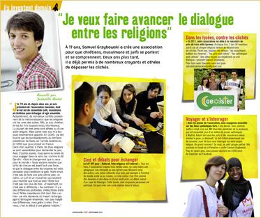 """""""Je veux faire avancer le dialogue entre les religions"""", dans le magazine Phosphore, le témoignage de Samuel qui a créé une association pour que les chrétiens, les musulmans et les juifs se comprennent (décembre 2011)"""