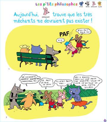 """""""Les très méchants ne devraient pas exister !"""" dans la rubrique """"Les P'tits philosophes"""" du magazine Pomme d'Api (février 2013)"""
