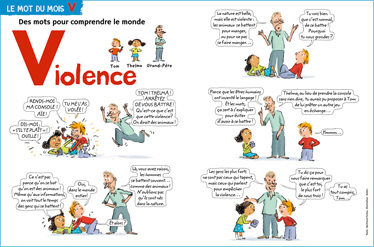 """""""Violence"""", le magazine Youpi explique ce mot aux enfants dans sa rubrique """"Des mots pour comprendre le monde"""" (Youpi n° 232)"""