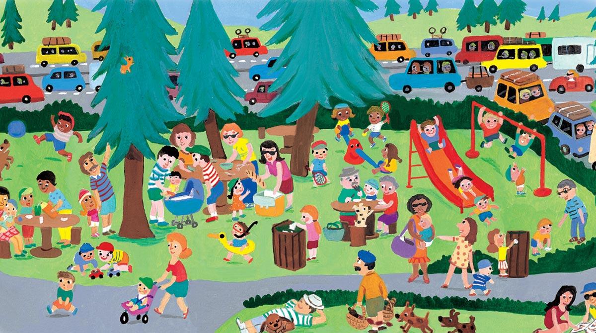 5 idées pour bien voyager cet été avec bébé - Illustration : Fabienne Teyssèdre, supplément pour les parents du magazine Popi de juillet 2016