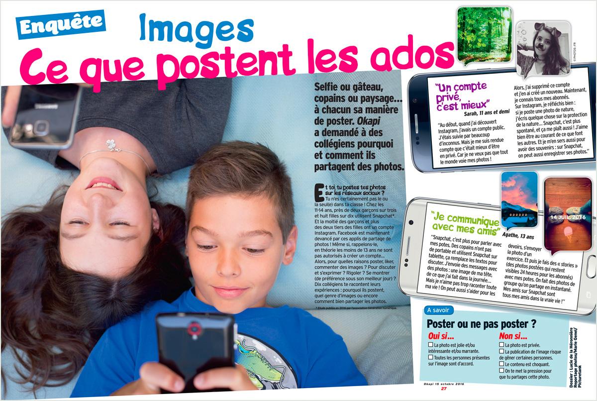 """""""Images, ce que postent les ados"""", Okapi n° 1032, octobre 2016. Dossier : Lucie de la Héronnière. Reportage photos/Marie Genel/Picturetank."""