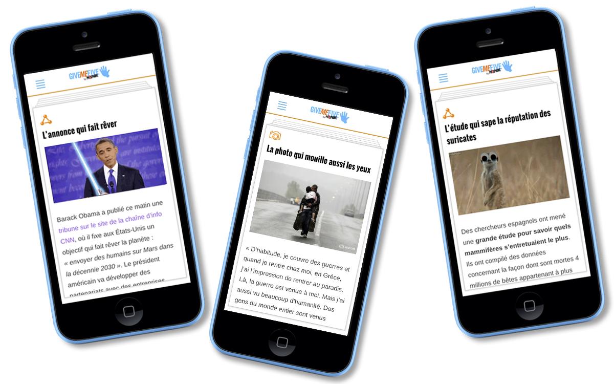 Give Me Five de Phosphore, une nouvelle application d'information pour les ados