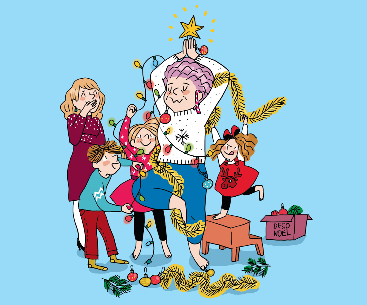 """Fête de Noël - """"10 idées pour un Noël (vraiment) ensemble"""", texte : Anne Bideault, illustrations : Clotka. Supplément au n°610 de Pomme d'Api, décembre 2016"""