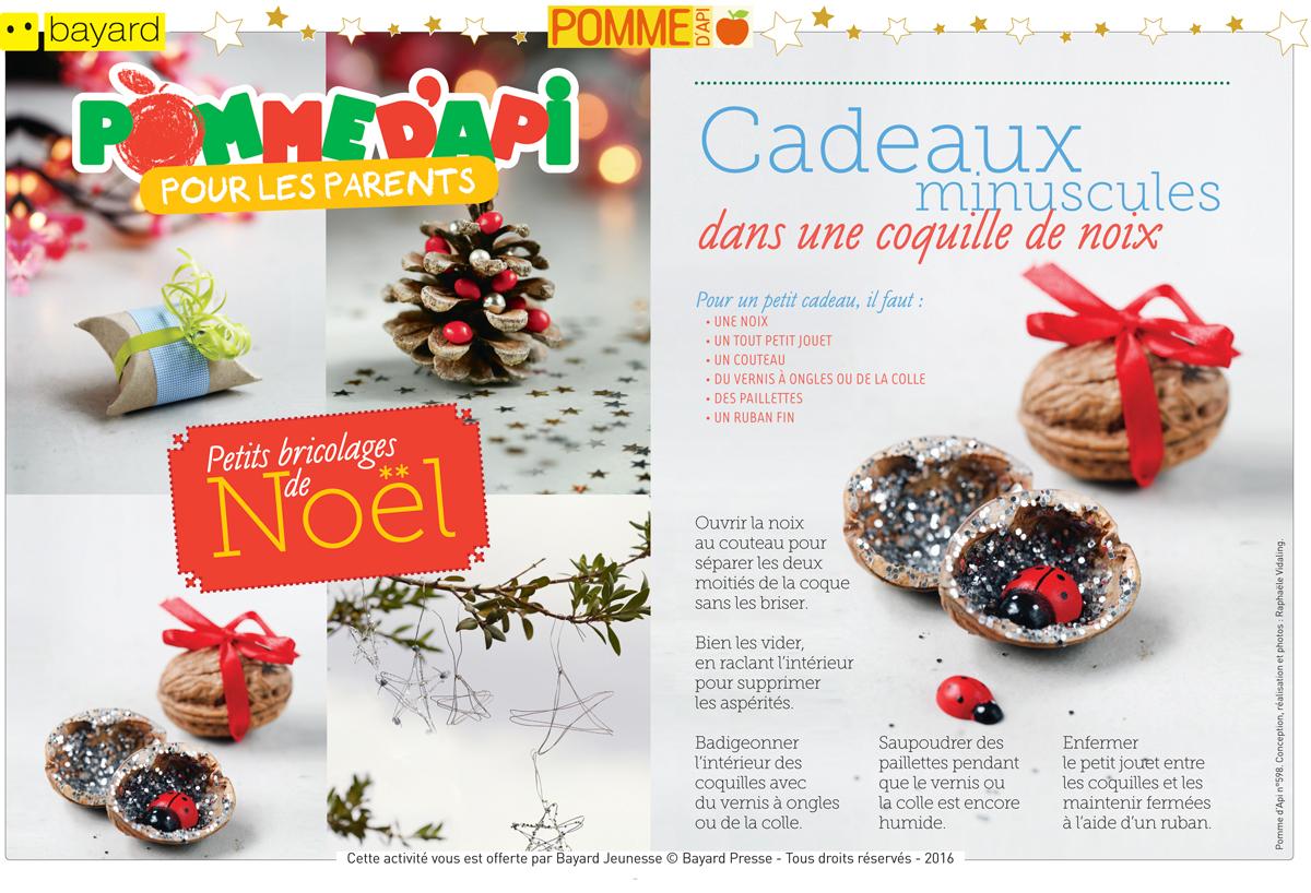 Téléchargez les explications pour réaliser les 5 petits bricolages de Noël - Pomme d'Api n° 598. Conception, réalisation et photos : Raphaële Vidaling.
