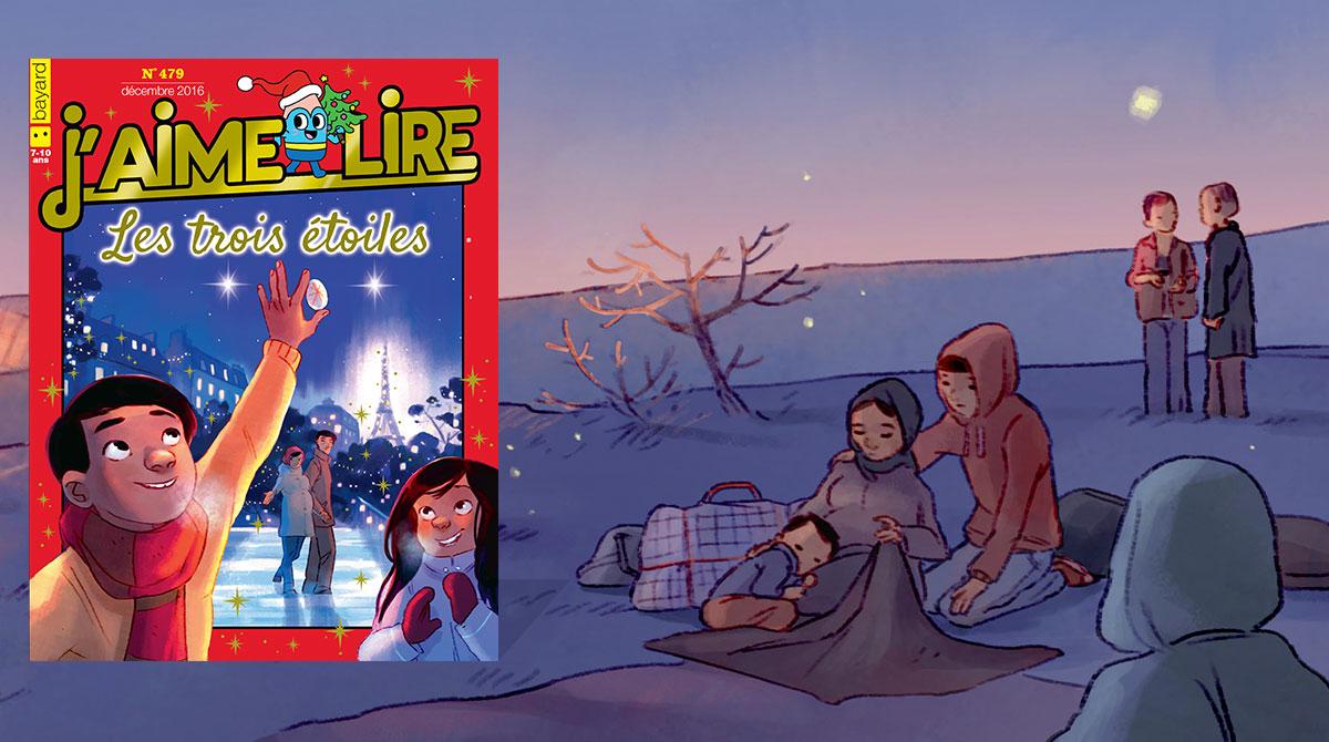 """J'aime lire, une histoire d'engagement - """"Les trois étoiles"""", écrit par Gwénaëlle Boulet, illustré par Aurélie Neyret."""
