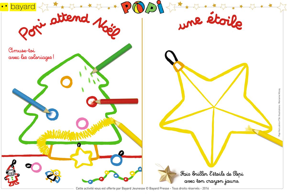 Téléchargez les coloriages de Noël - Popi, hors-série n°36. Illustrations : Marianne Vilcoq.
