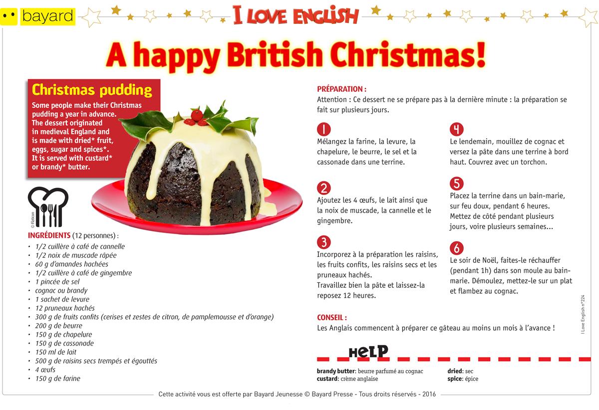 Téléchargez la recette du Christmas pudding - I Love English n°224 . Text by Lesley Ormal-Grenon