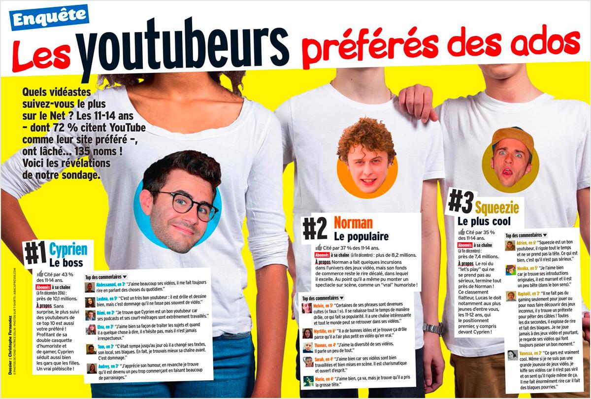 """Téléchargez l'enquête """"Les youtubeurs préférés des ados"""" publiée dans le magazine Okapi du 1er février."""