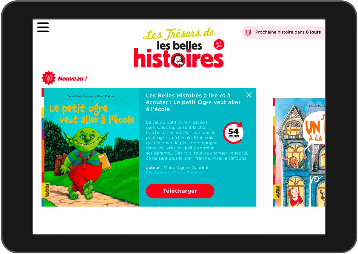 Application pour enfant : Les trésors de Belles Histoires - Des histoires à lire et à écouter