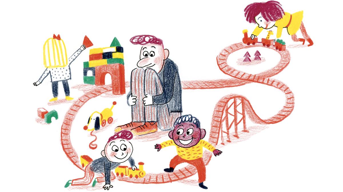 """""""La ludothèque, un terrain de jeux à découvrir"""", extrait du supplément pour les parents du magazine Popi, mars 2017 - Texte : Isabelle Gravillon - Illustration : Anne Rouquette."""
