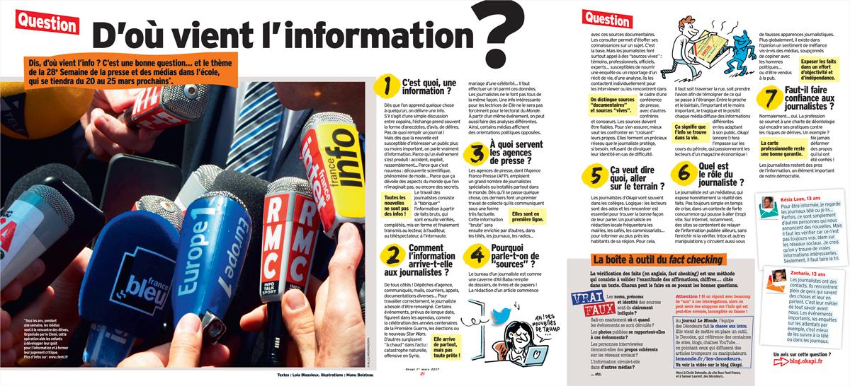 D'où vient l'information ? - Okapi, 1er mars 2017. Textes : Lola Blassieux, illustrations : Manu Boisteau.