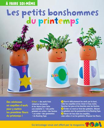 """Téléchargez le bricolage """"Les petits bonshommes du printemps"""", extrait du magazine Popi d'avril 2017. Conception, réalisation et photo : Hélène Vidaling."""