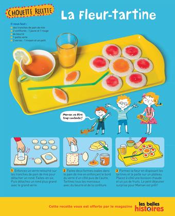 """Télécharger la recette de """"La fleur-tartine"""", un déjeuner surprise à préparer avec le magazine Les Belles Histoires (4-7 ans)"""