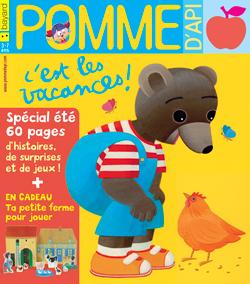 Couverture du magazine Pomme d'Api, spécial été, du mois de juillet 2017 - En cadeau une petite ferme pour jouer avec Petit Ours Brun