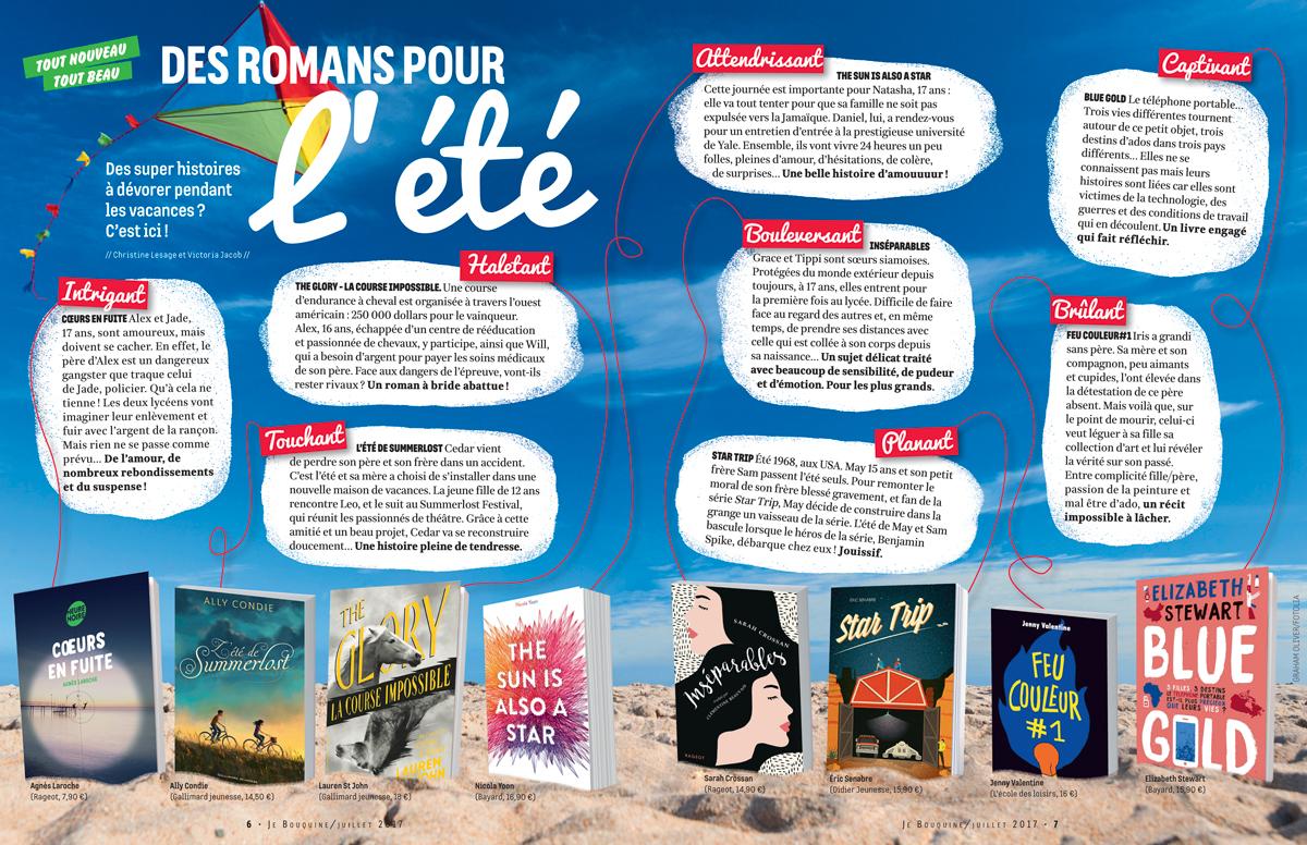 """""""Des romans pour l'été"""", Je bouquine, juillet 2017 - Textes : Christine Lesage et Victoria Jacob."""