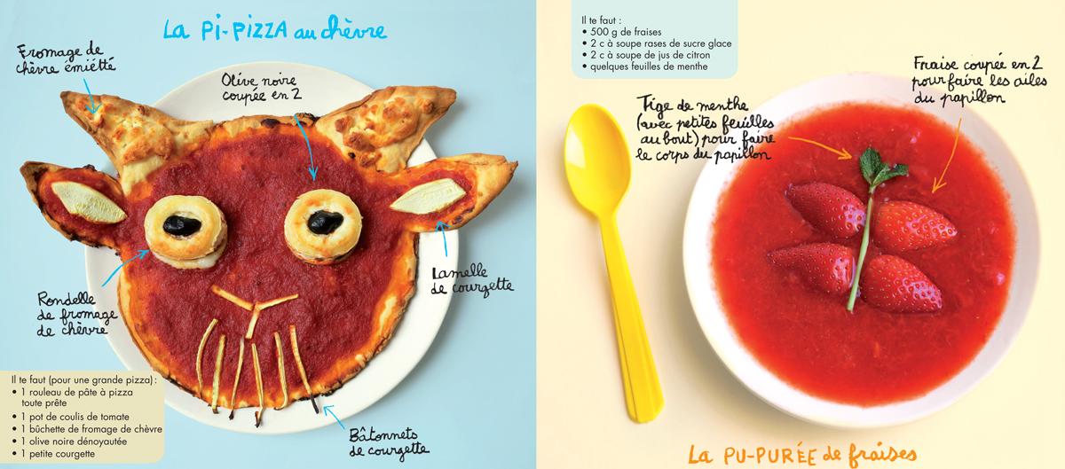 Recettes d'été de la pi-pizza et de la pu-purée de fraise, extraites du magazine Pomme d'Api de juillet 2017 - Conception, réalisation et photos : Hélo-Ita.