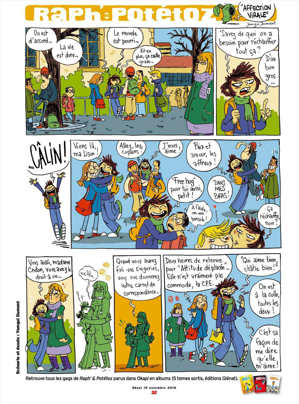 """BD """"Raph' & Potétoz"""" publiée dans le magazine Okapi n° 1034 du 15 novembre 2016. Scénario et dessin : Yomgui Dumont"""