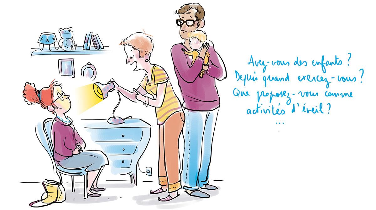 """""""Avec la nounou, parlez tout doux"""", supplément pour les parents du magazine Popi de septembre 2017. Texte : Aziliz Claquin, illustration: Zelda Zonk."""