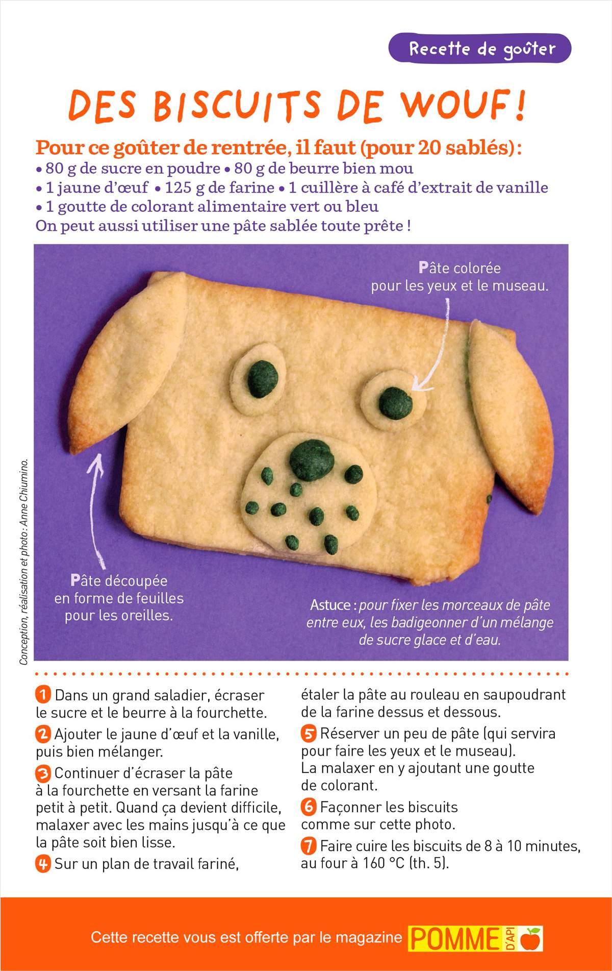 Télécharger la recette pour préparer les biscuits de wouf !