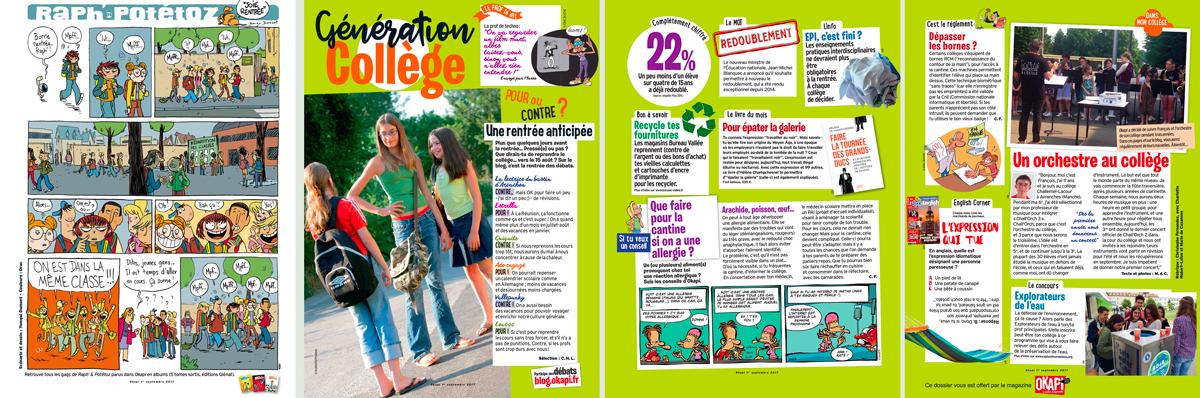 """Téléchargez la rubrique """"Génération collège"""" du magazine Okapi du 1er septembre"""