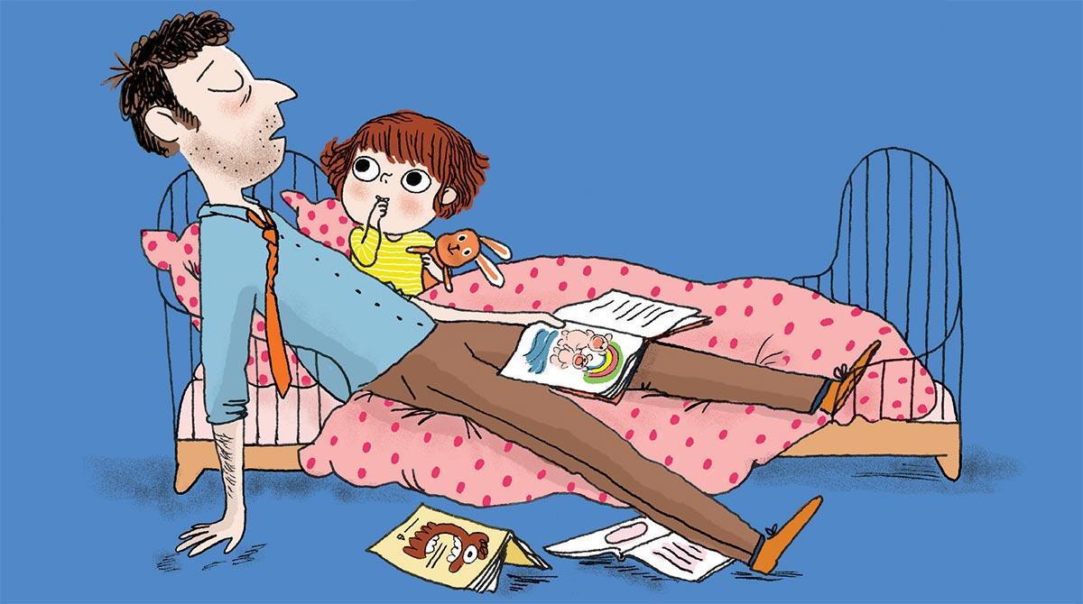 """""""Le coucher, un moment rien qu'à nous !"""", supplément pour les parents, magazine Popi, n° 374, octobre 2017 - Texte : Anne Bideault. Illustration : Marie Leghima."""