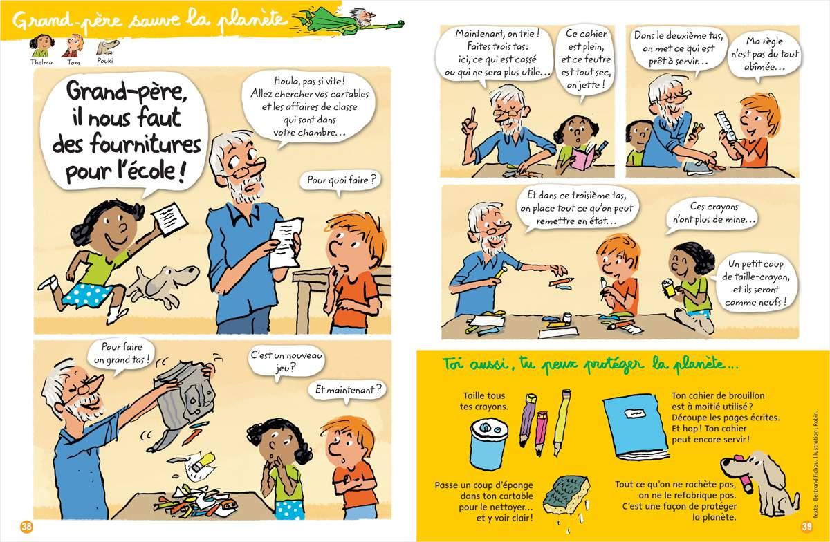 """Télécharger : """"Grand-père sauve la planète - Grand-père, il nous faut des fournitures pour l'école !"""" Texte : Bernard Fichou. Illustration : Robin. Youpi, septembre 2017."""