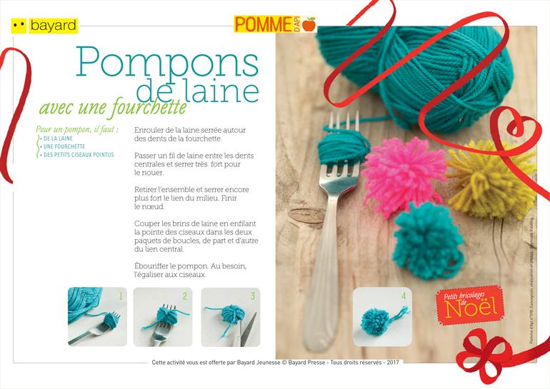 Téléchargez le tuto pour réaliser les pompons de laine. Extrait de Pomme d'Api n°598. Conception, réalisation et photos : Raphaële Vidaling.