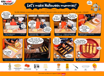 """Let's make Halloween mummies!"", I Love English for Kids n°188, novembre 2017. Photos : Frédéric Albert, AdobeStock."