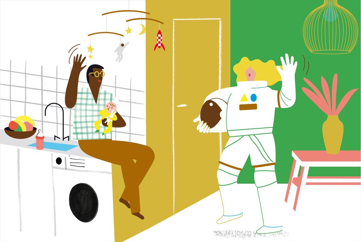 """""""Filles-garçons, même éducation ?"""", supplément pour les parents du magazine Pomme d'Api, mars 2018. Texte : Anne Bideault. Illustrations : Séverine Assous."""