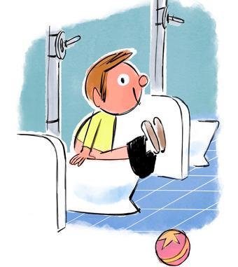 """""""Vite, le pot !"""", supplément pour les parents, Popi n°382, juin 2018. Texte : Anne Bideault. Illustrations : François Maumont."""