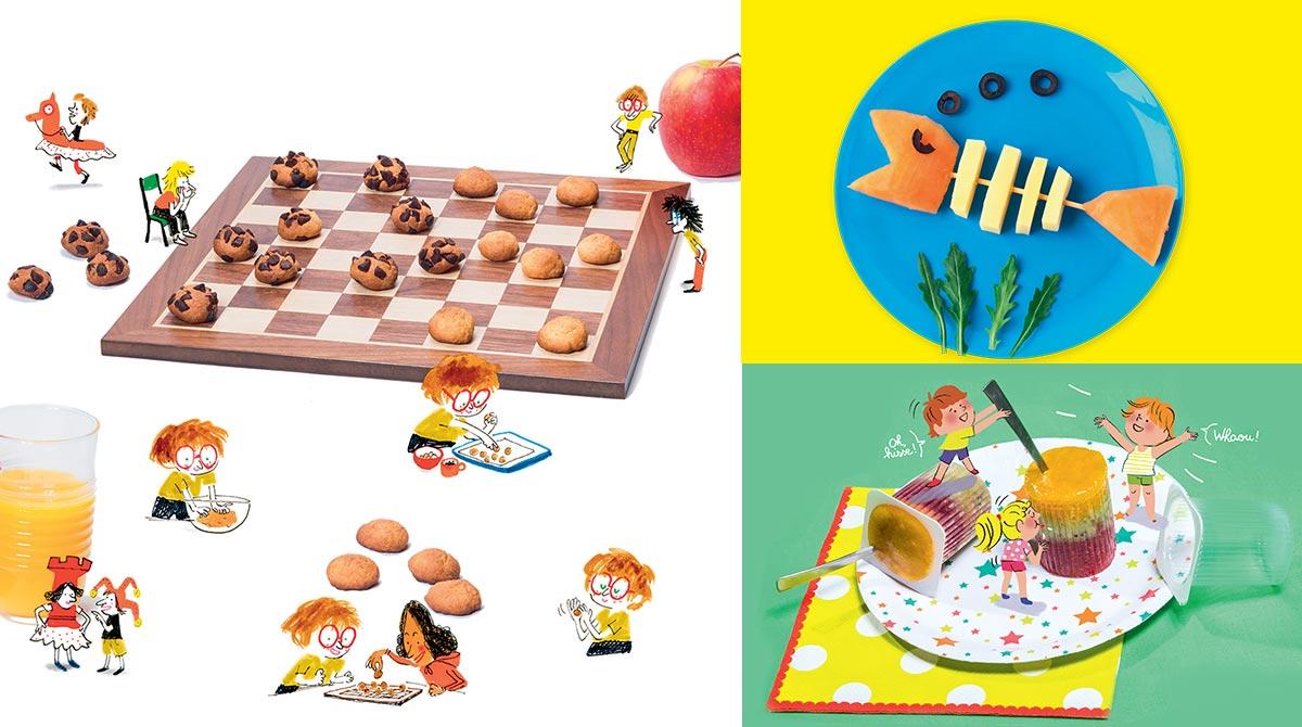 3 recettes d'été faciles à faire avec les enfants (dames sablées d'Astrapi - poisson-brochette de Pomme d'Api - glace tutti frutti des Belles Histoires)