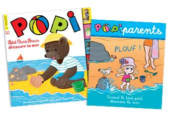 Couverture du magazine Popi n°383 de juillet 2018 et son supplément pour les parents.