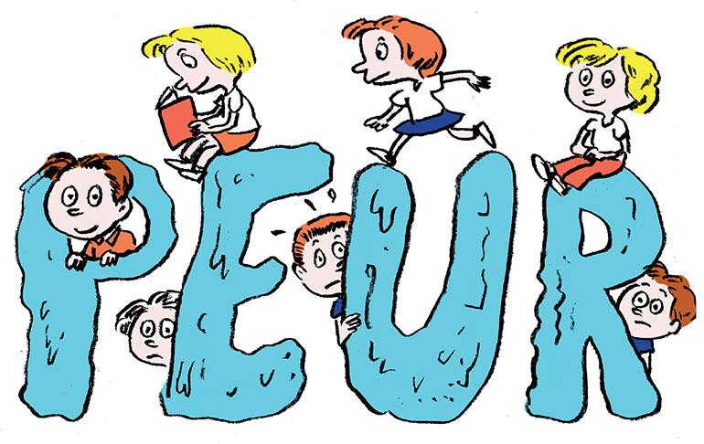 """""""Faut-il avoir peur des histoires qui font peur ?"""", supplément pour les parents du magazine Pomme d'Api n° 639, novembre 2018. Texte : Anne Bideault, illustrations : Muzo."""