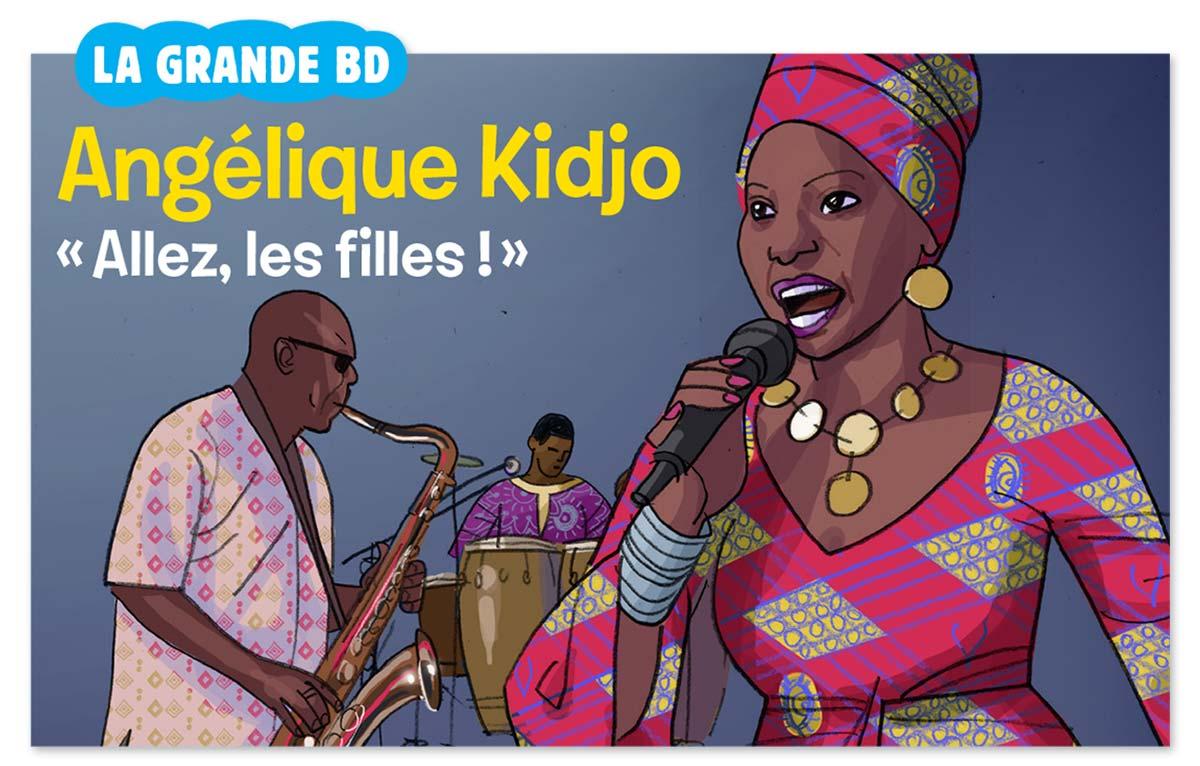 """""""La grande BD : Angélique Kidjo"""", Images Doc n° 360, décembre 2018. Interview : Catherine Loizeau. Illustration : Éric Meurice."""