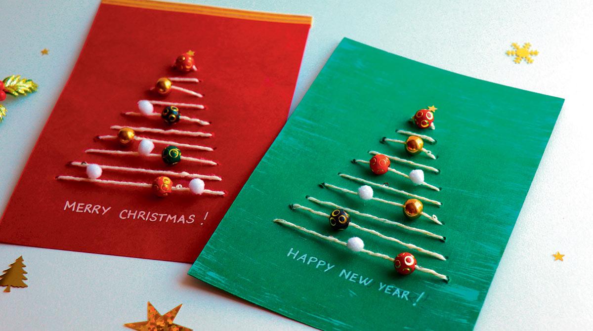 """""""Christmas tree cards"""" (cartes de Noël), I Love English for Kids! n°200, décembre 2018. Photos et réalisation : Maureen Nicolas. Illustrations : Henri Fellner."""