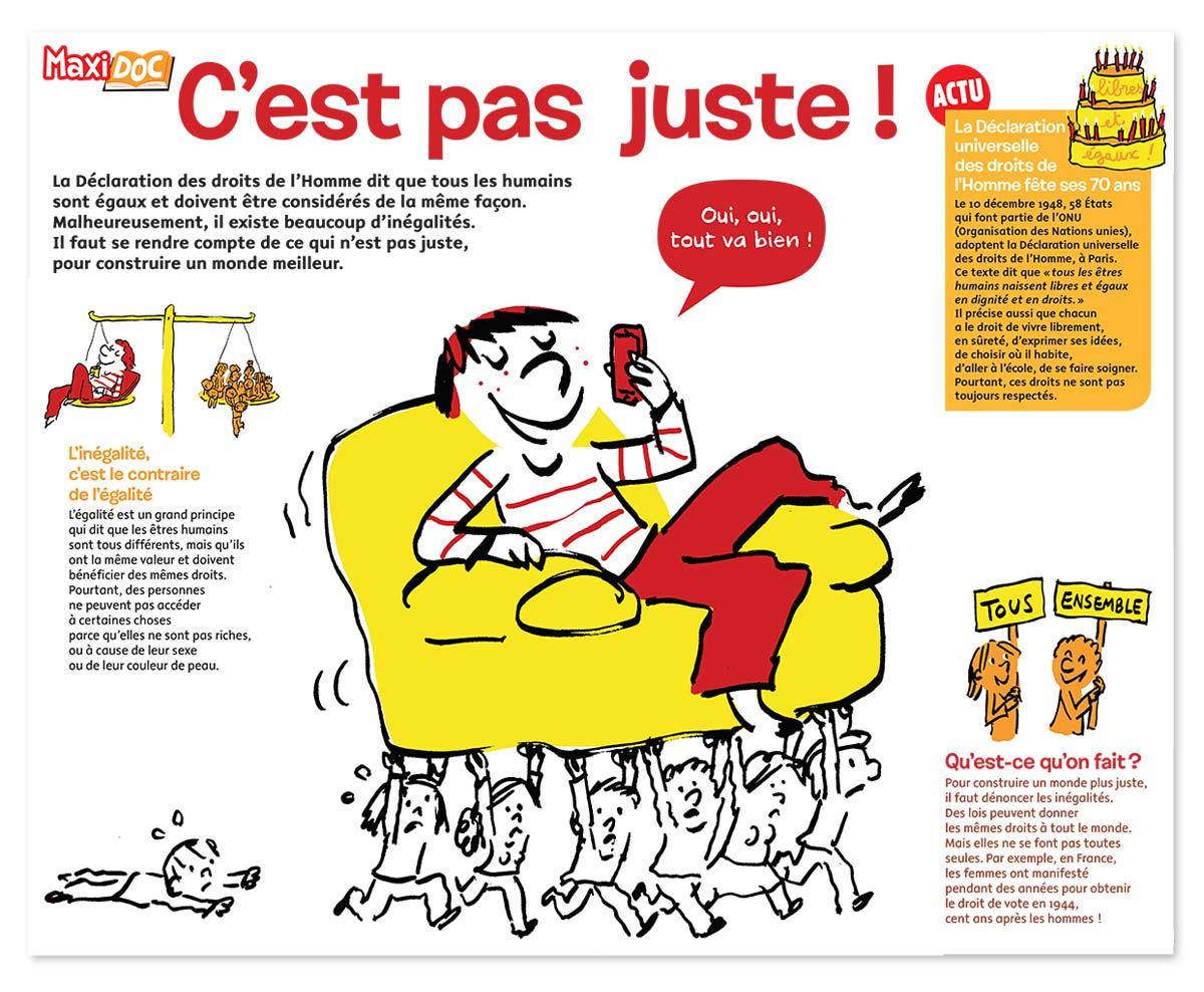 """""""Maxi Doc : Ce n'est pas juste !"""", Images Doc n° 360, décembre 2018. Textes : Lucie Tourette. Illustrations : Robin (grands dessins et pieds de pages), Lucie Parkes (petits dessins). Merci, pour sa relecture, à Nicolas Jounin, sociologue."""