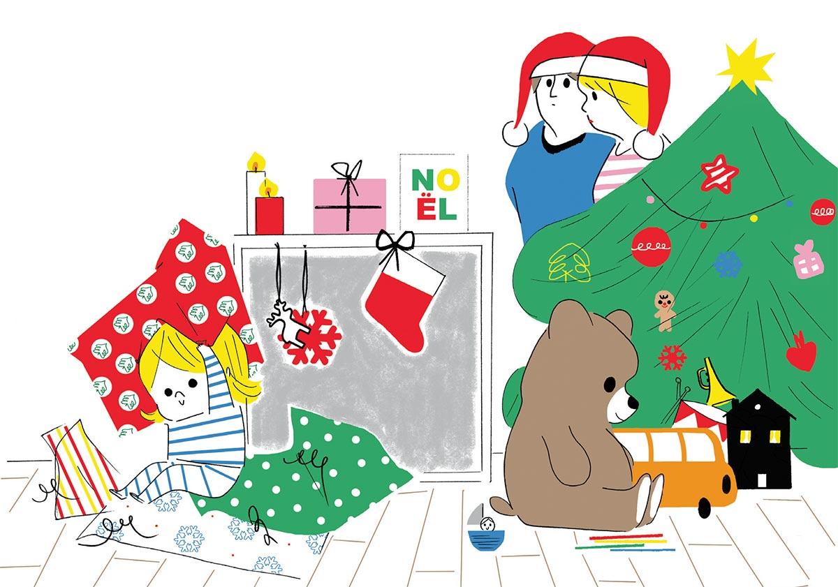 """""""L'empreinte des premiers Noëls sur un tout-petit"""", supplément pour les parents du magazine Popi n° 388, décembre 2018. Texte : Anne Bideault. Illustrations : Sophie Bouxom."""