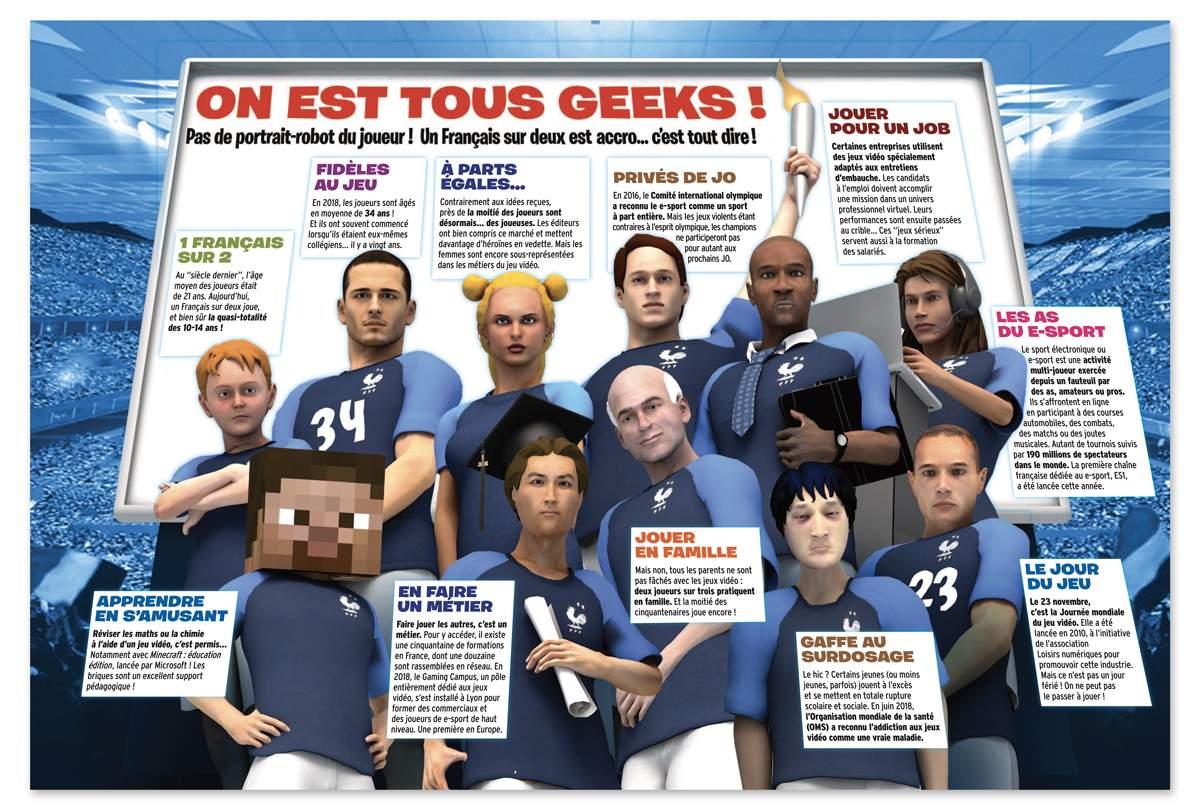 """""""Le business des jeux vidéo"""", Okapi n°1079, 1er décembre 2018. Textes : Lucile Morin. Illustrations : Mathieu Roussel."""
