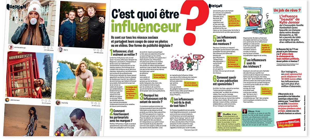 """""""C'est quoi être influenceur?"""", Okapi n°1081, 1erdécembre2018. Texte: Claire Le Nestour. Illustrations: Manu Boisteau."""