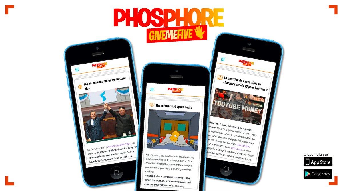 Give Me Five de Phosphore, une application d'information en français et en anglais pour les ados