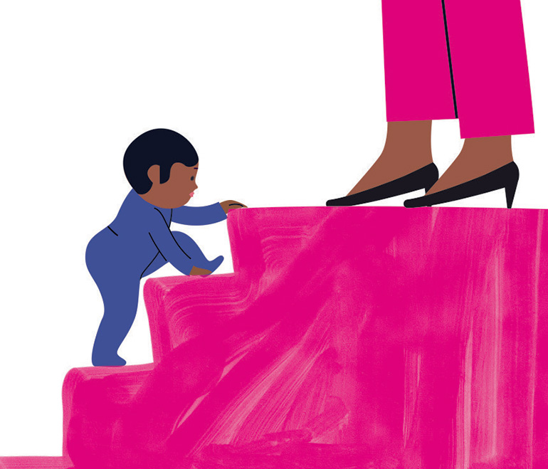 """«L'esprit Montessori - """"Faire seul, près de toi""""», supplément pour les parents du magazine Popi, mars 2019. Texte : Anne Bideault. Illustrations : Séverine Assous."""