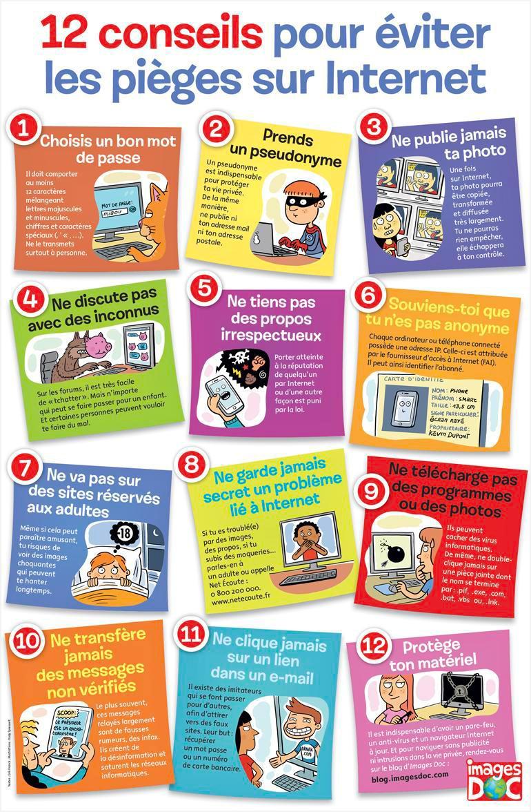 """""""Poster : 12 conseils pour éviter les pièges sur Internet"""", Images Doc n° 362, février 2019. Textes : Erik Franck. Illustrations : Rudy Spiessert."""